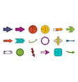 arrows icon set color outline style vector image