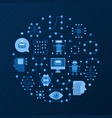 artificial intelligence round flat vector image vector image