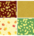 autumn bright leaves on seamless patterns vector image
