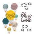 background with balloon and hand drawn lettering vector image