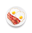 Bacon and eggs isolated on white vector image