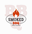 bbq logo design barbecue and grill with fire vector image vector image