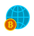 bitcoin worldwide global trend graphic vector image