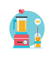 blender and fresh smoothie juice in the glass vector image vector image