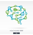Brain concept with medical health healthcare vector image vector image
