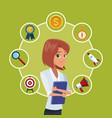 businesswoman executive cartoon vector image