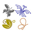 butterfly collection logo design icon set vector image