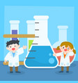 children studying science or chemistry vector image
