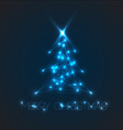 christmas tree from digital electronic blue lights vector image