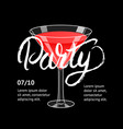 cocktail party martini glass hand written vector image vector image