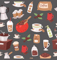 coffee cartoon objects seamless pattern vector image