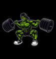 coloured a bodybuilder with barbell vector image