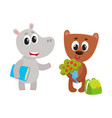 cute animal student characters bear with flowers vector image vector image