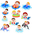 cute little kids playing on beach vector image