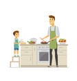 father and son cooking - cartoon people characters vector image vector image