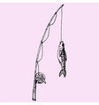 fishing rod with fish vector image