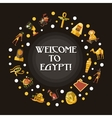 Flat design Egypt travel postcard with famous vector image
