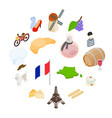 france isometric 3d icons vector image