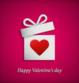 Gift box with heart symbol Valentines day concept vector image vector image