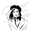 girl with berret hat black and white vector image vector image
