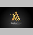 gold metal a letter design brush paint stroke vector image vector image