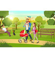 happy family strolling with pram in park vector image