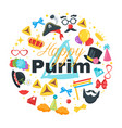 happy purim celebration card vector image vector image