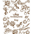 happy thanksgiving day card autumn fall veggies vector image