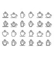 hot drink cup outline icon coffee cups line vector image