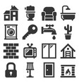 house icons set on white background vector image vector image