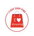 i love shopping red back circle frame background v vector image