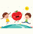 kids and fruit characters vector image vector image