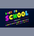 latin alphabet - badge back to school trend font vector image