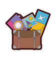 line color backpack with camera and picture to vector image vector image