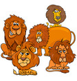 lions cartoon animal characters group vector image vector image