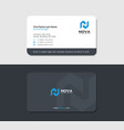 matte business card with blue letter n vector image vector image
