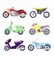 Motorcycles Icons Set with Retro Sport Bike vector image vector image