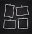 old hand drawn chalk photo frames white vintage vector image vector image