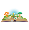 Open book with boy and fairy landscape vector image vector image