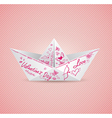 paper boat for Valentines day vector image