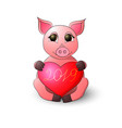 pig keeps a heart with an inscription 2019 vector image