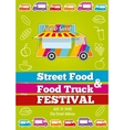 poster with wagon full of tasty summer food vector image