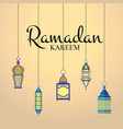 ramadan with haning lanterns vector image vector image