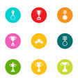 remuneration icons set flat style vector image vector image