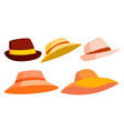 retro hat set brown classic traditional vector image