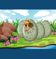 river scene with duck hatching egg vector image vector image