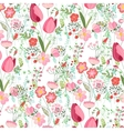Seamless pattern with stylized cute flowers vector image vector image
