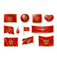 set montenegro flags banners banners symbols vector image vector image