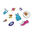 set of patches with fashion badges retro style vector image vector image