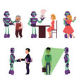 set of robot assistants helping people vector image vector image